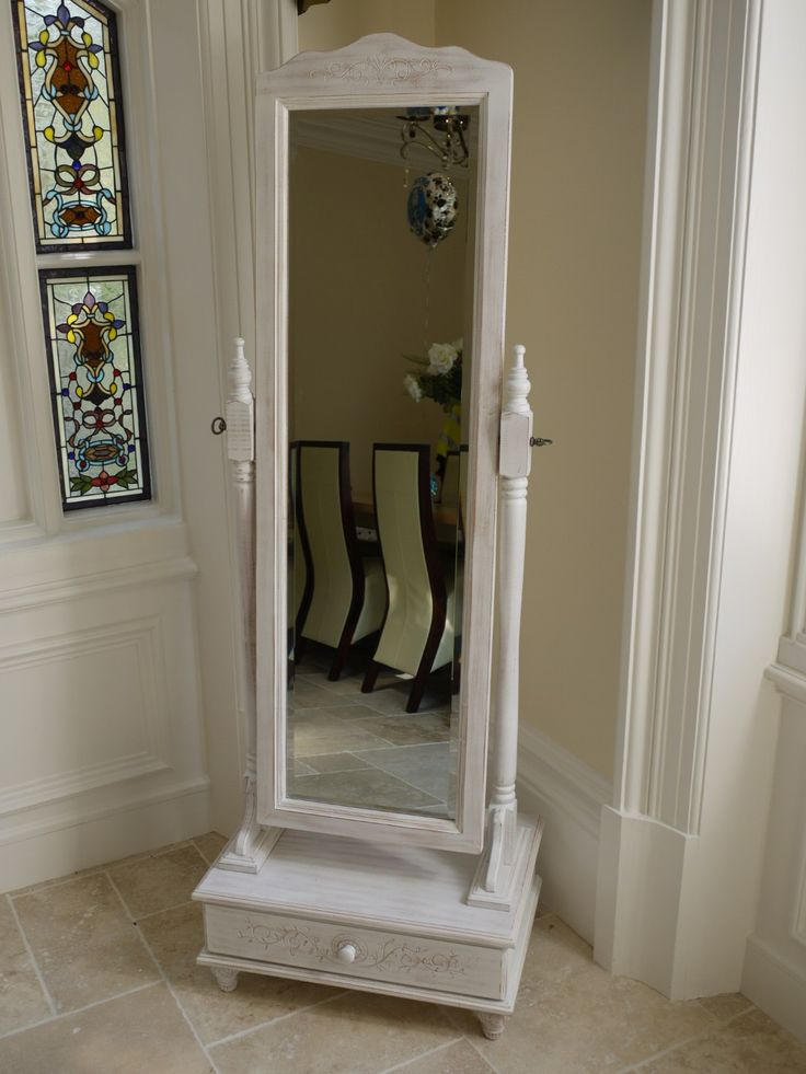 White Cheval Mirror with drawer £195