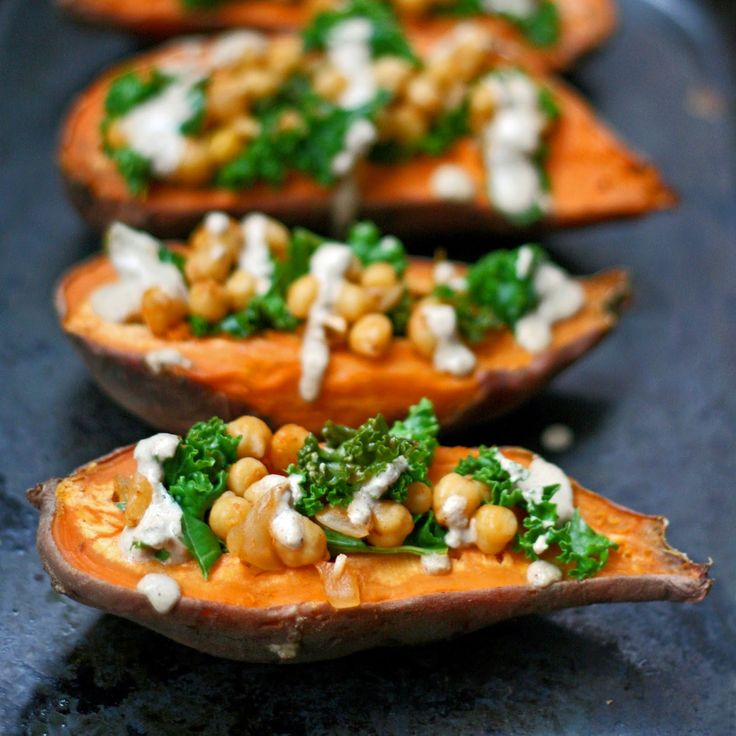 Sweet potatoes stuffed with harissa spiced chickpeas and lemon ...
