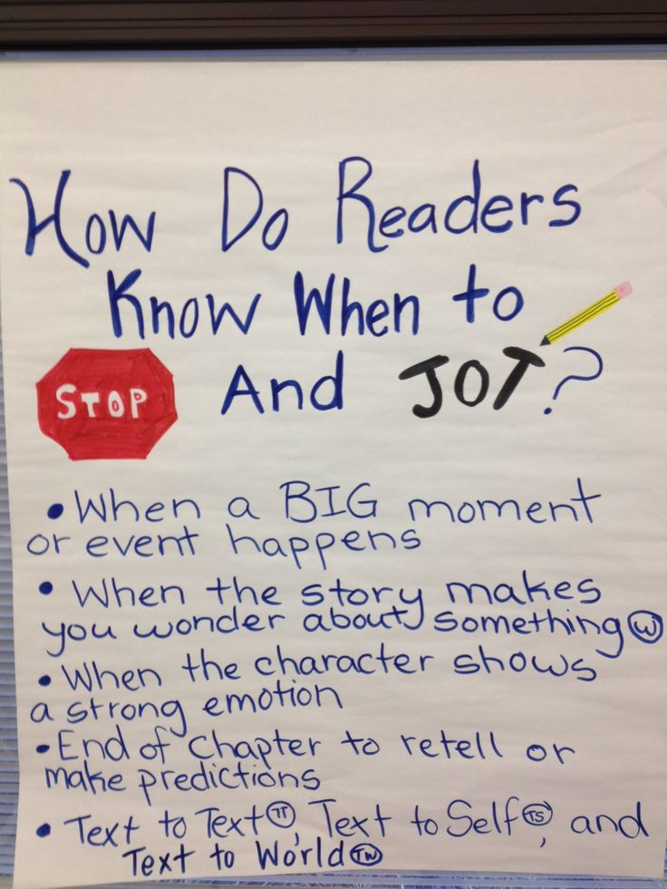 How do Readers know when to stop and jot? Nice image of an anchor chart on this topic.