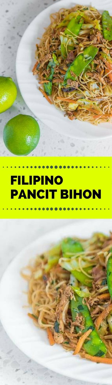 Filipino Pancit Bihon is a noodle dish composed of bihon or rice noodles along with vegetables such as cabbage, carrots, snow peas, and onion. Meats such as shredded chicken and chopped pork are also added. This is best eaten with a condiment of soy sauce and calamansi #pansit #pancit #noodles #Filipinorecipes #pinoyfood #pinoy #Filipino #speedyrecipe #panlasangpinoy #pansit #pancit