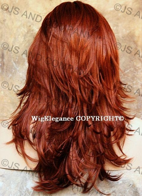 Relaxed Multi Layered Flip Out Style Long Copper Red
