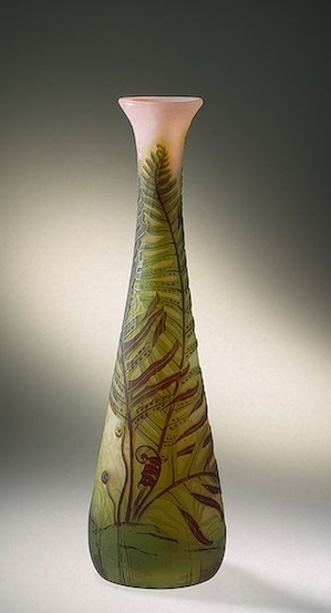 Émile Gallé | Vase Decorated with Fern Manufactory of Emile Galle France, Nancy. Circa 1904. Hermitage Museum.