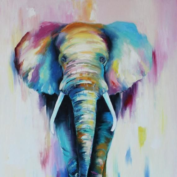 Colorful Elephant Painting Modern Multicolor Animals Art Oil