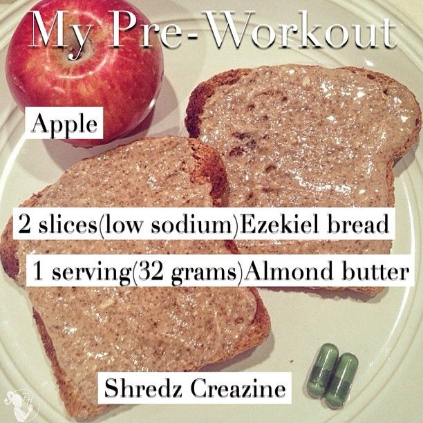 """I do however eat a combination of good carbs (low sodium Ezekiel bread) ,good fats(raw natural no stir almond butter) &a """"quick carb"""" (apple) Intra training. I also take CreaZine (#Shredz) There are a lot of benefits from proper supplementation.2⃣main things I like about CREATINE is it has helped me get STRONGER & add lean MASS."""