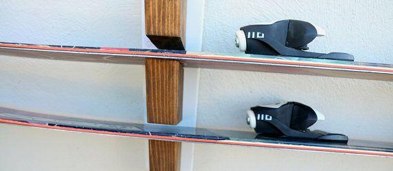 wood ski rack ski holder Winter sport accessories storage