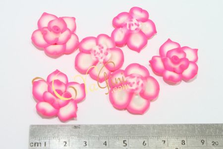 Aplikasi Clay Bunga Tanggung 3cm - Pink Putih - yagini.com - 085641416429 - 3