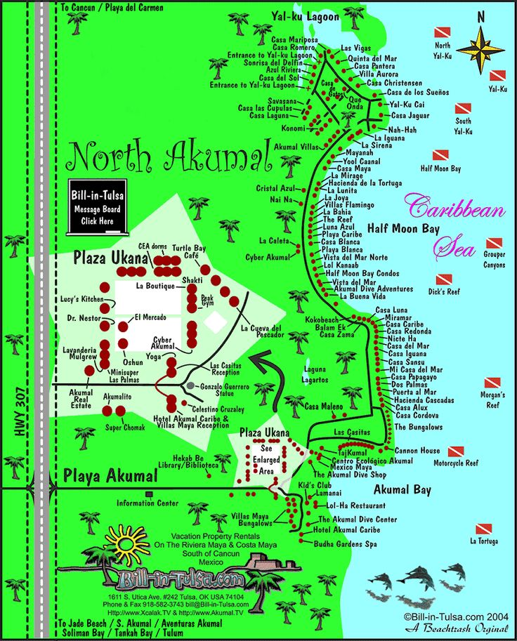 Map of Akumal and North Akumal