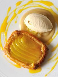 Pear tart and Tregothnan Earl Grey tea ice cream - Nathan Outlaw - pear tart like you have never experienced before.