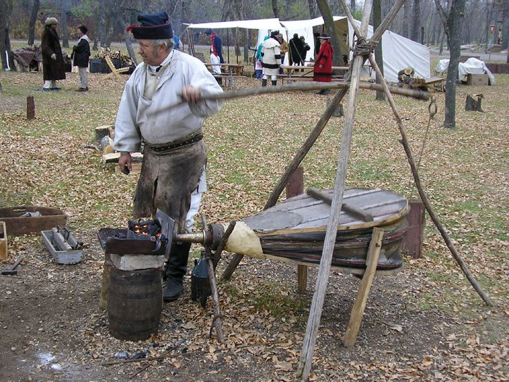 An interpreter is seen here with a portable blacksmith's forge similar to the one taken by the Lewis and Clark expedition