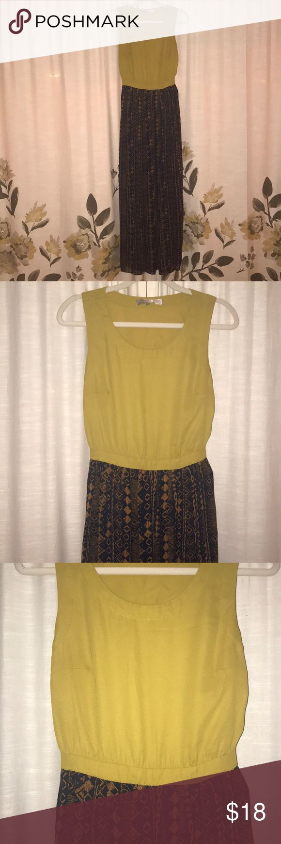 Mustard green tribal maxi dress with back hole Mustard green tribal maxi dress with back hole. high slit on right front side and Inside a line.   Great condition! No defects Size small, but runs a little bigger (small - medium) Forever 21 Dresses Maxi