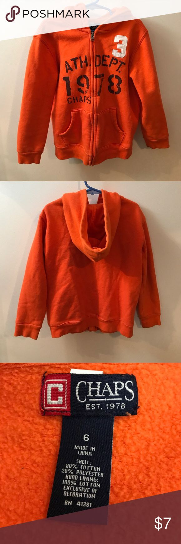 Chaps Zip Up Hoodie EUC Chaps orange  zip up hoodie with graphic design. Size 6. Chaps Shirts & Tops Sweatshirts & Hoodies