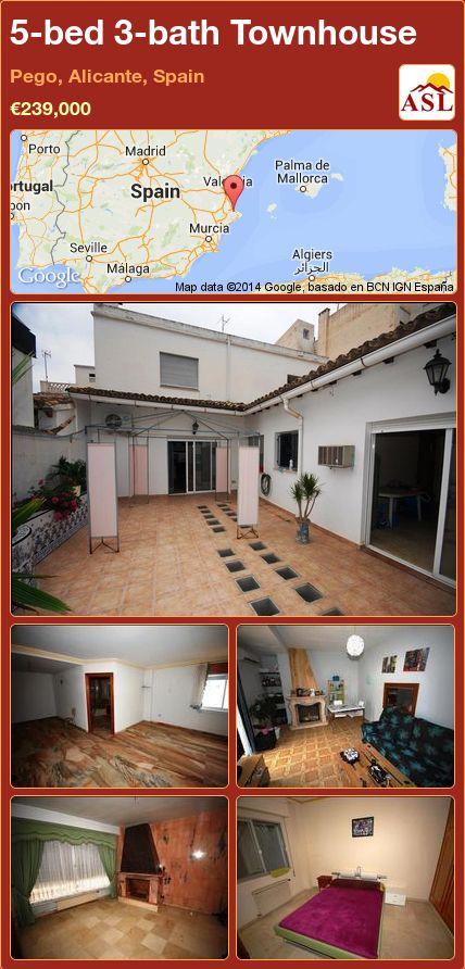 5-bed 3-bath Townhouse in Pego, Alicante, Spain ►€239,000 #PropertyForSaleInSpain