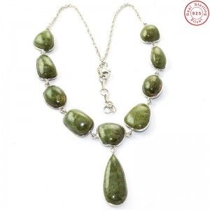 925 Sterling Silver #Natural #Unakite #Gemstone #Necklace