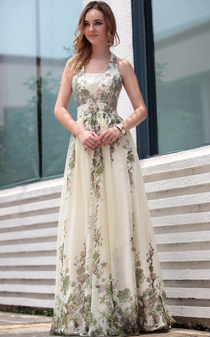 Off-white Halter Floral Print Floor Length  Gowns Evening Dress - This dress is adorable!