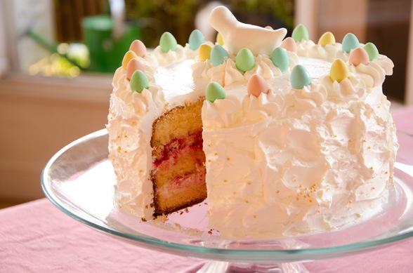 Gâteau de Pâques vanille framboises - Raspberries layer cake