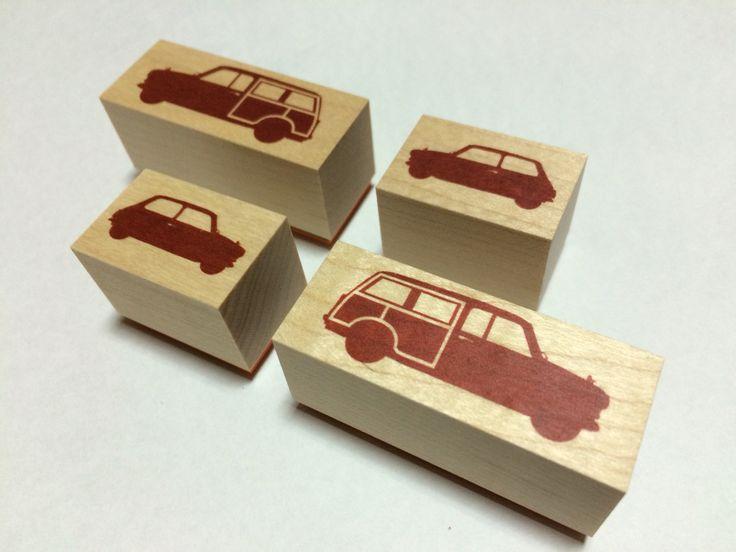 Mini familys silhouette Car stamp