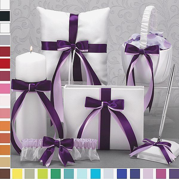 Mix N Match Dual Color Ribbon Accented White Wedding Accessory Set Weddingceremony Weddingreception