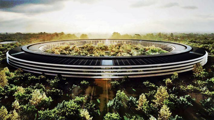 Apple's new offices in Cupertion (Californië). Should be finished by end 2016, in collaboration with renowned British architect bureau Foster + Partners.