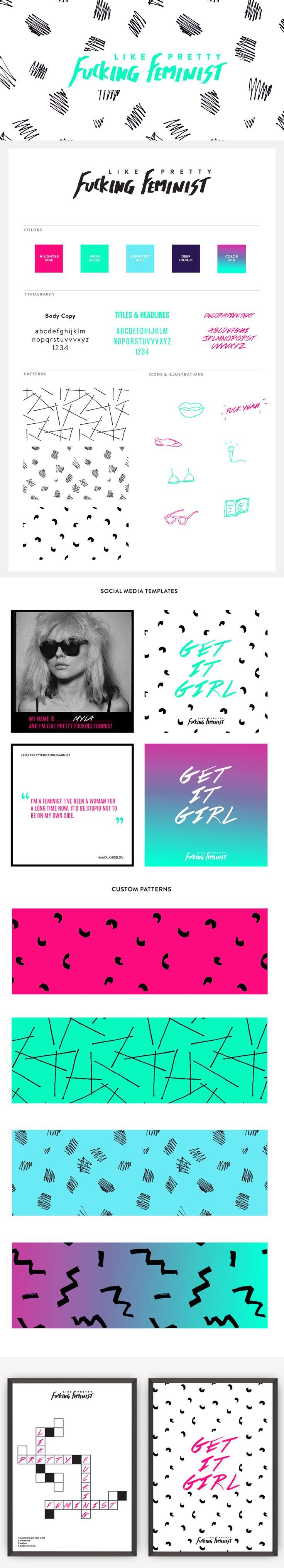 Like Pretty Fucking Feminist Brand Identity   Little Trailer Studio. Click through to view details.