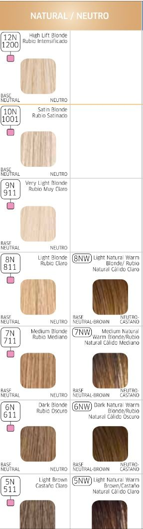 Wella color charm chart, neutral blond levels 10-5