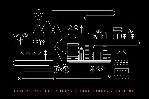 Cycling illustration vectors & logos by The Corner Store on @creativemarket