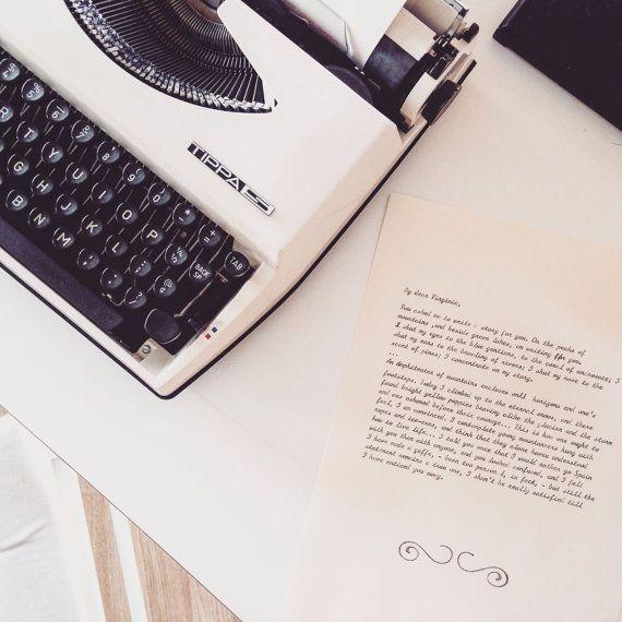 Personalized typewritten letter in cursive black by InkyLetter
