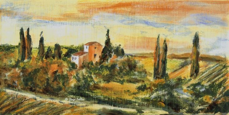 Chianti, Tuscany (Art d'Eco) by Maga Fabler Original acrylic painting on recycled cardboard