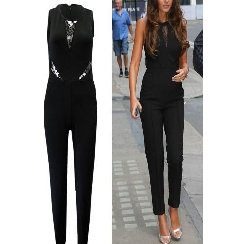 Women Black Lace Sleeveless Jumpsuit Casual Trousers Sexy Clubwear Evening Party Zip Playsuit Slim Bodycon Romper Hot Bodysuit Dress
