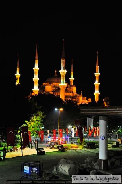 The Blue Mosque Istanbul - under orange lights