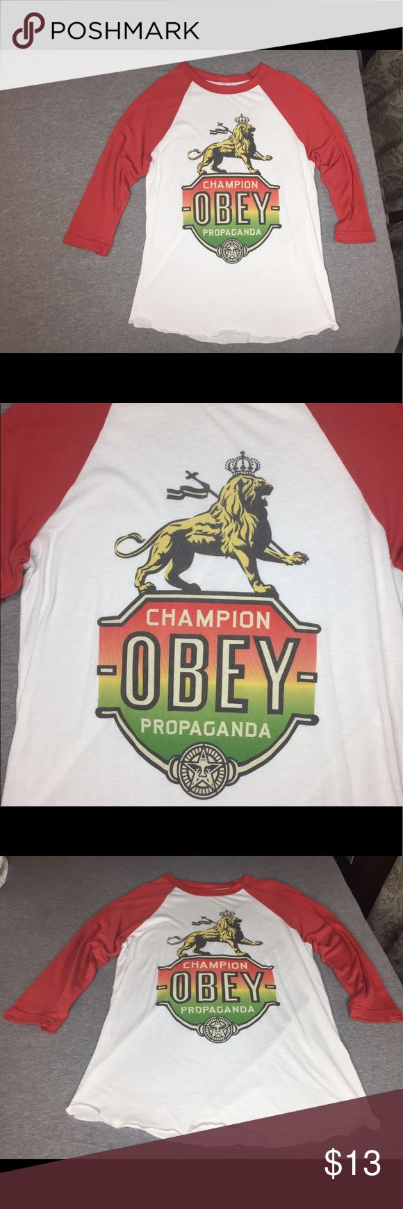Obey Raglan Tee - Rasta Colors! In excellent pre-loved condition! Very minor pilling. Still has tons of wear. Smoke free home! Bundle and save! Obey Tops Tees - Long Sleeve