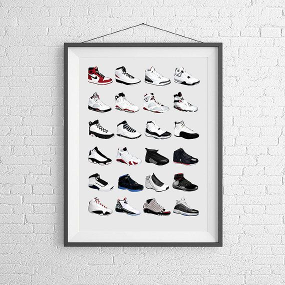 Pigeon Studios SneakerHead! This original poster features the history of Jordan kicks and collages together all their great designs into one