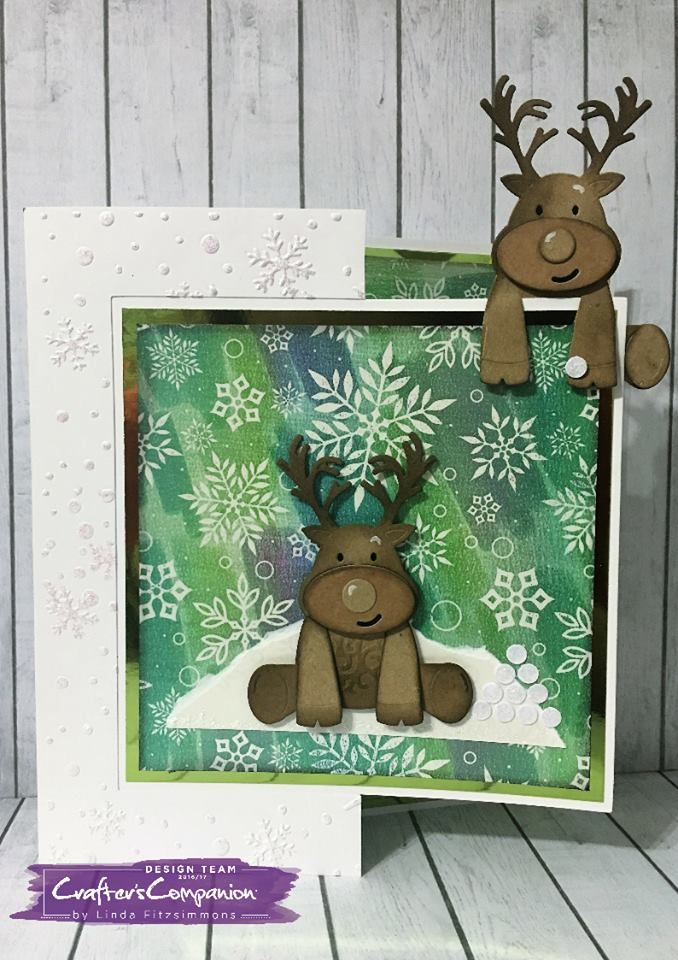 Card made using Sara Signature Cute Christmas Collection – Red Nose Reindeer die, Fun in the Snow embossing folder. Designed by Linda Fitzsimmons #crafterscompanion