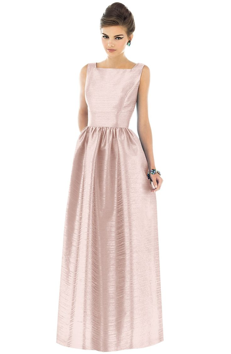 Alfred Sung Square Neck Dupioni Full Length Dress