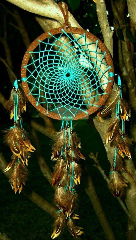 traumfänger selber basteln türkise fäden