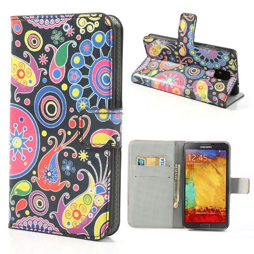 Kleurrijk booktype hoesje voor de Samsung Galaxy Note 3