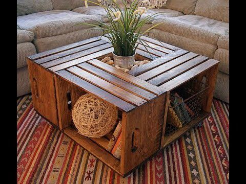 DIY Decor: Low table made of old storage wood boxes.