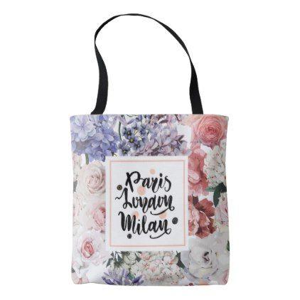 Vintage Floral Pattern Tote Bag - pattern sample design template diy cyo customize