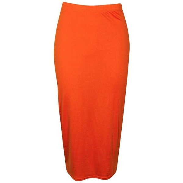 Boohoo Alexis Midi Jersey Tube Skirt | Boohoo ($10) ❤ liked on Polyvore featuring skirts, jersey maxi skirt, orange maxi skirt, pleated midi skirt, jersey skirt and maxi tube skirt