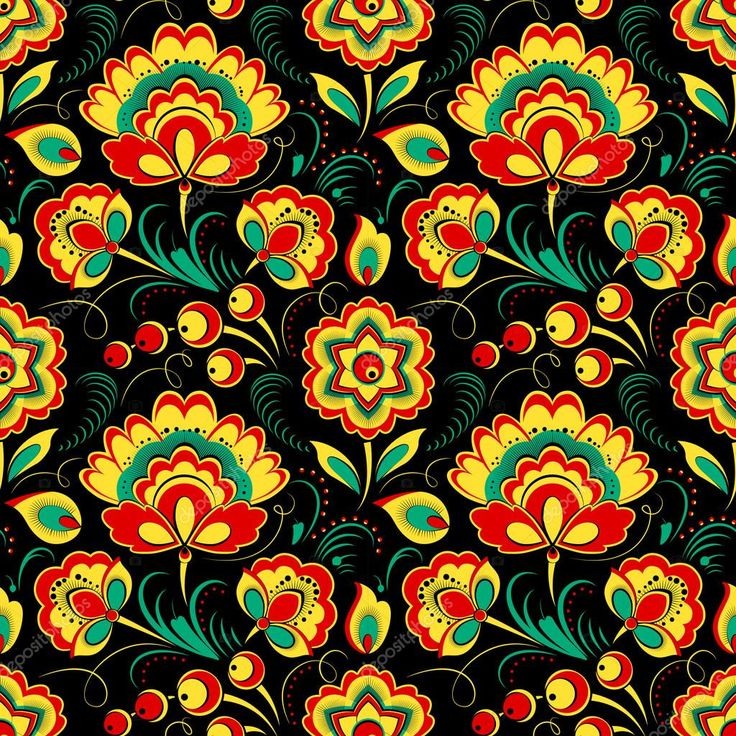 Бесшовные цветочные векторных в России Хохлома стиль, черный фон
