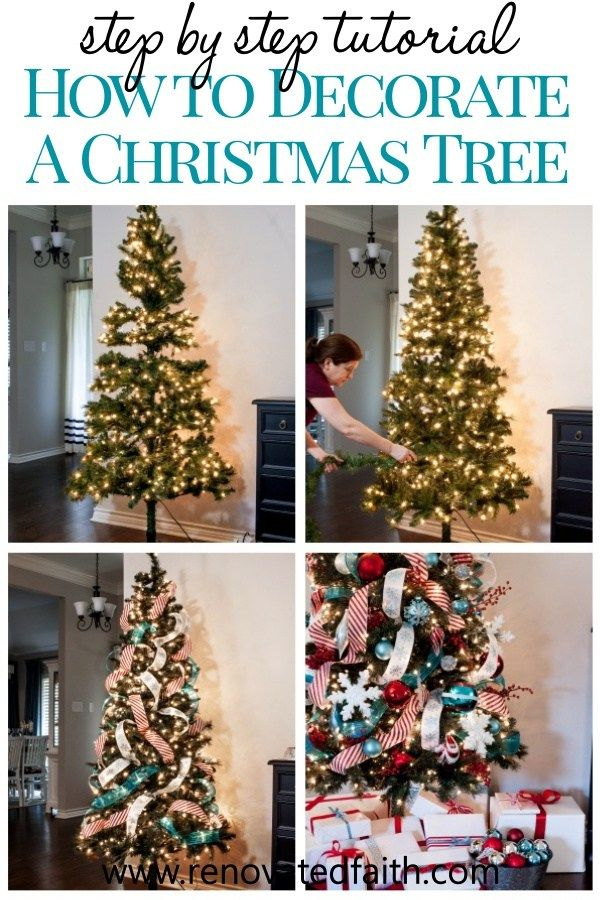 Decorate A Christmas Tree Step By Step Ribbon On Tree Ideas Hacks Christmas Tree Decorating Tips Fake Christmas Trees Christmas Tree Themes