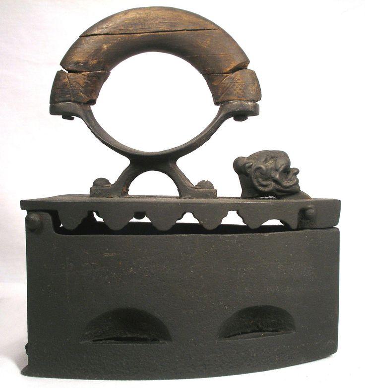 Antique Lion Head Ujvidek B V Serbia Ironing Wood Handle