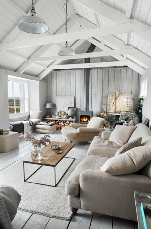 Modern farmhouse living room design in neutral white gray and beige colors modern