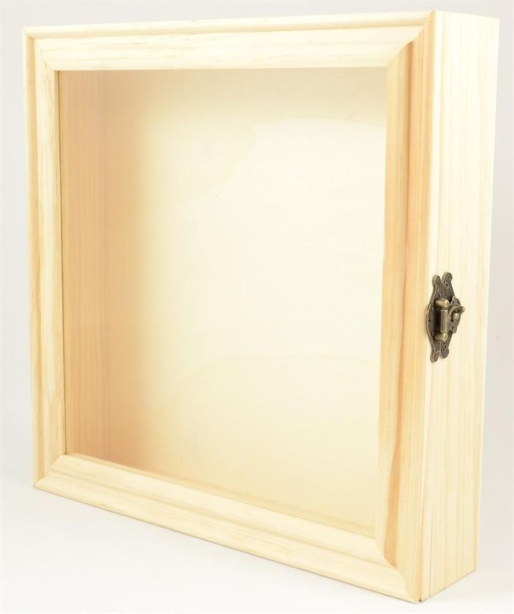 """Here is a large unfinished wood shadow box that measures approximately 13""""""""W x 13""""""""T x 2.75""""""""D. The approximate interior measurements are 12"""""""" x 12"""""""" x 2"""""""". This is an enclosed box with a glass front."""