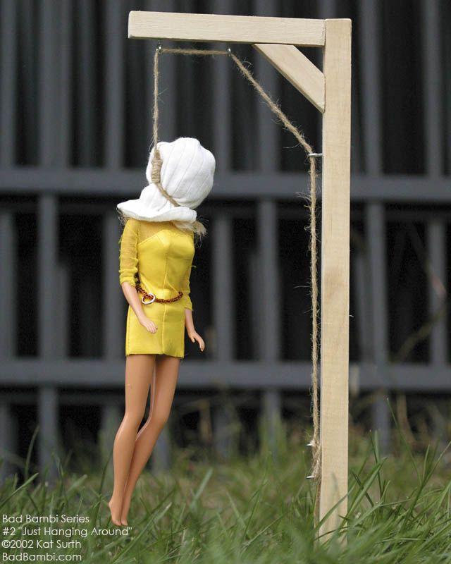 "Bad Bambi Series 2 ""Just Hanging Around"" ©2002 Kat Surth.  A Barbie™ doll parody artwork."