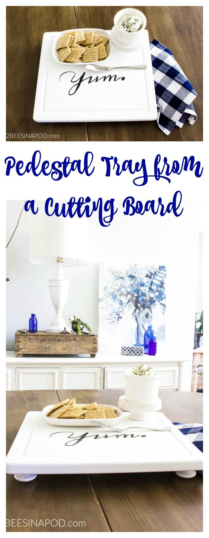 Easy DIY Pedestal Tray From a Cutting Board. Repurposed cutting board. Serving tray with graphics. Yum tray. DIY tray and board. Painted tray.