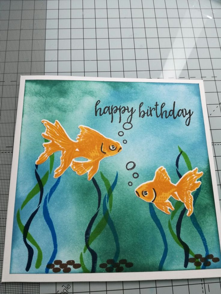 Happy birthday fish! Heroarts stamps and die, distress inks. Lawn fawn inks. All stamps, dies and inks available from http://www.sprinkle-twinkle.co.uk