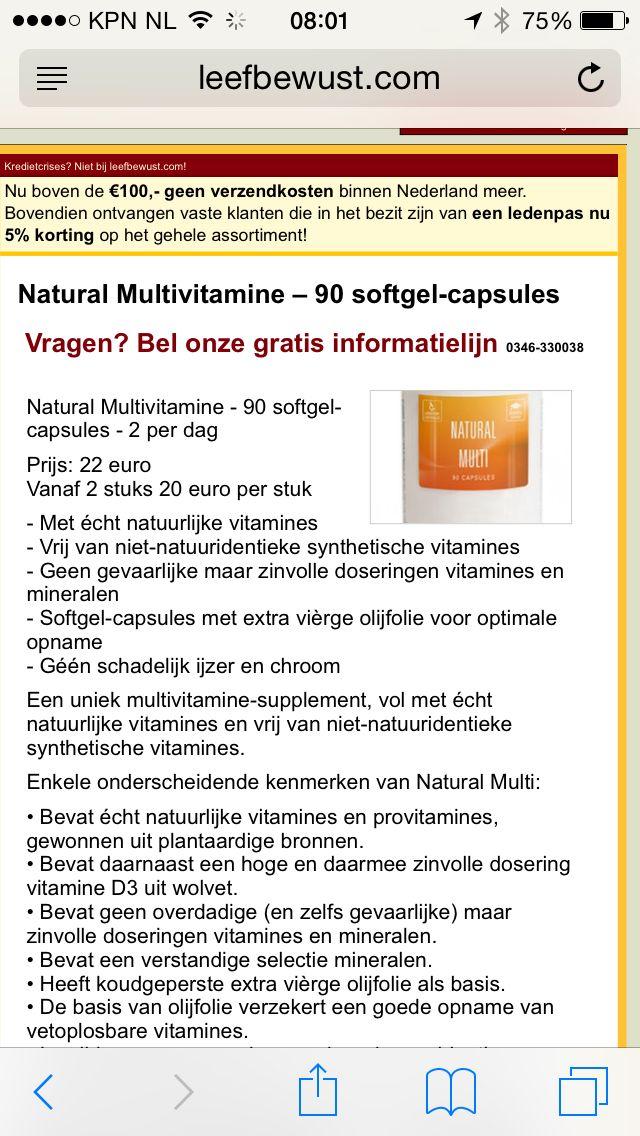 100% natuurlijke multi Te koop: http://www.leefbewust.com/webwinkel/alleprodukten/