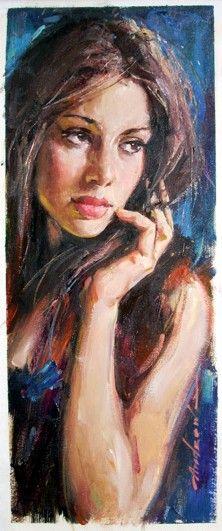 "Pintura a óleo sobre tela de Andrew Atroshenko - ""Julia"""