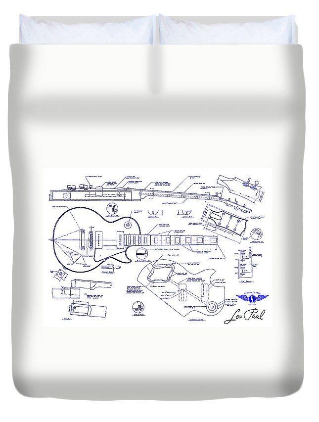 Les Paul Blueprint Duvet Cover featuring the drawing Gibson Les Paul Blueprint Drawing by Jon Neidert