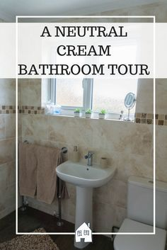 A NEUTRAL CREAM BATHROOM TOUR  Large cream tiles with brown and bronze mosaic Best 25 Cream bathroom ideas on Pinterest